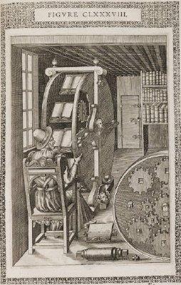 """La """"Rueda de lectura"""" de Agostino Ramelli. 1588. Un máquina diseñada para pasar de un libro a otro y hacer una lectura """"hipertextual""""."""